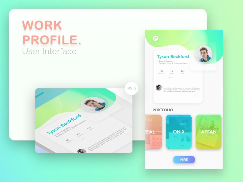 Interfata de profil pentru mobile apps
